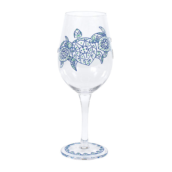 Green Sea Turtle Wine Glass