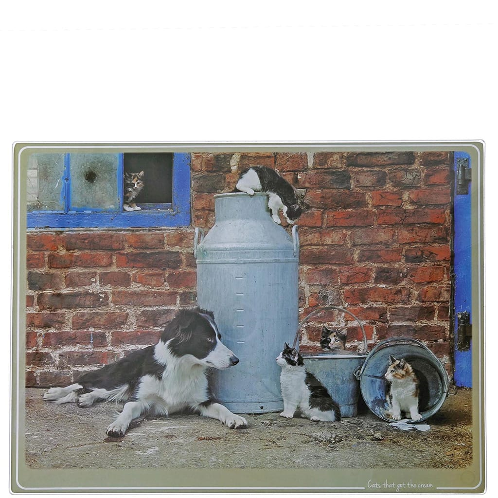 Kitchy & Co Cats That Got The Cream Chopping Board