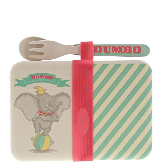 Enchanting Disney Dumbo Bamboo Snack Box with Cutlery Set