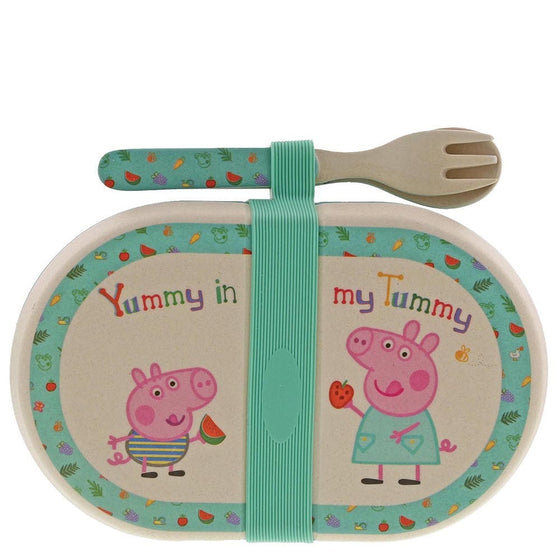Bamboo Snack Box with Cutlery Set - Peppa Pig