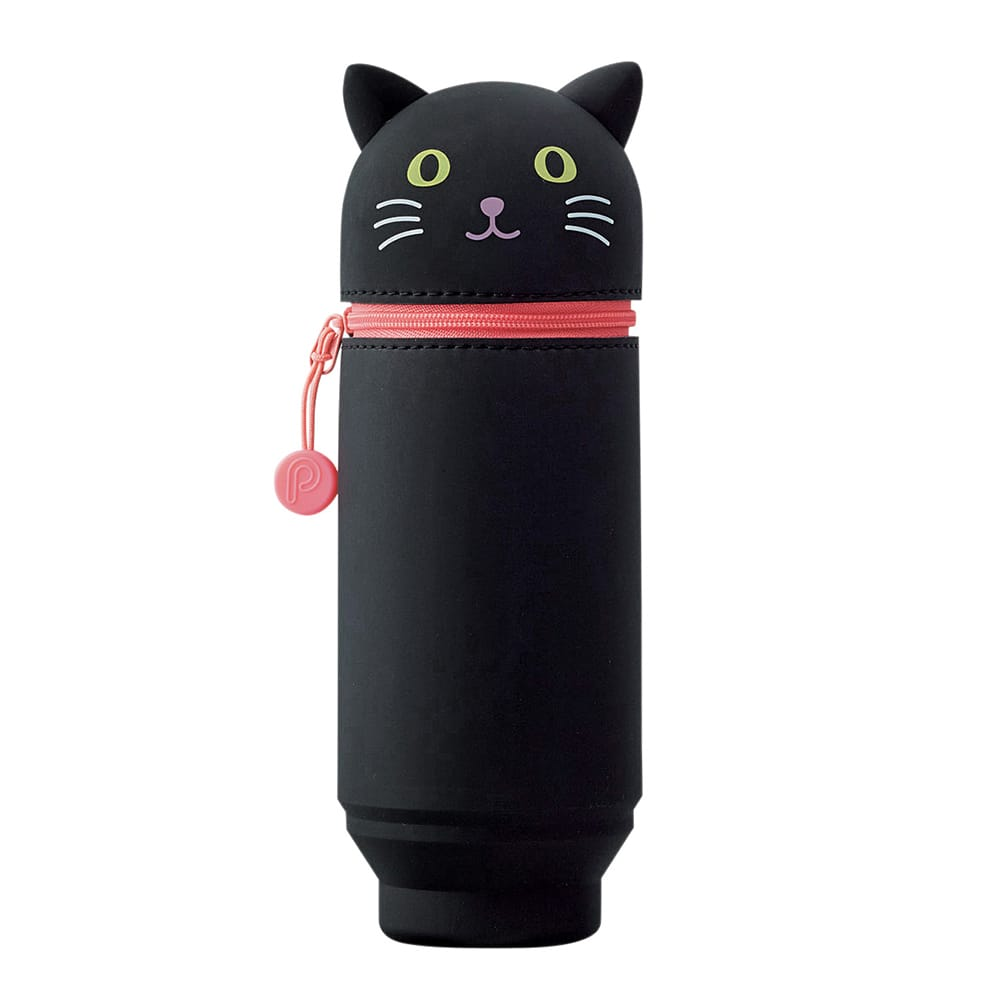 Black Cat Stand Up Pen Case (Large)
