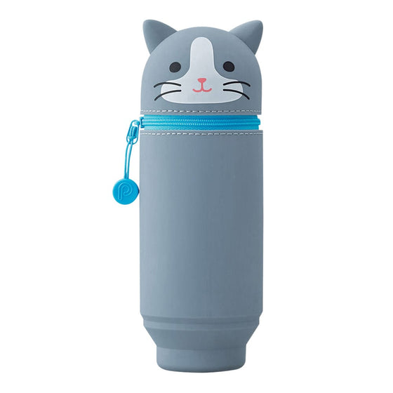 Grey Cat Stand Up Pen Case (Large)