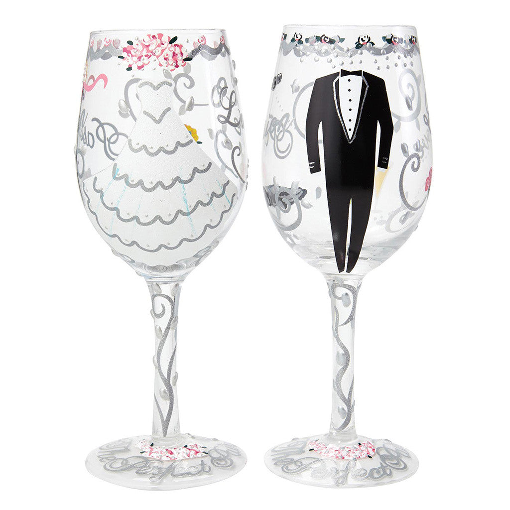 Bride & Groom Wedding Wine Glass Gift Set by Lolita