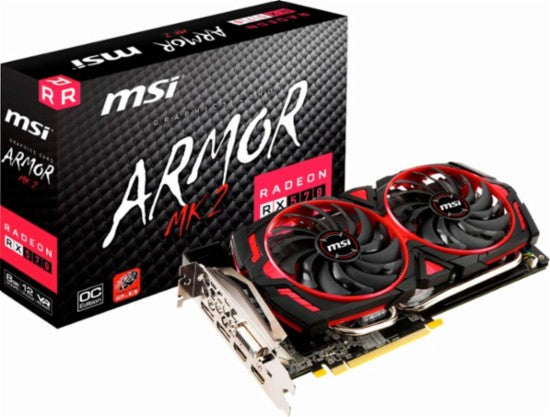 MSI - AMD Radeon RX 570 ARMOR OC 8G GDDR5 PCI Express 3.0 Graphics Card - Black/Red