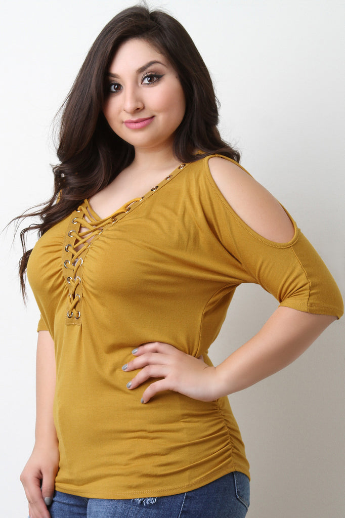 6e8ffdac327 Grommet Lace Up Cold Shoulder Ruched Top – Style & Curves