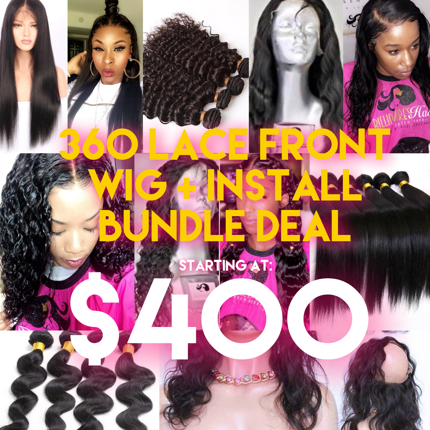 360 Lace Front Wig + Install Bundle Deal