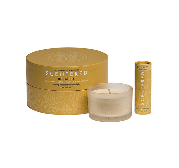 Scentered Aromatherapy Be Happy Balm Candle - Grapefuit Lemon Essential Oil Travel Gift Set