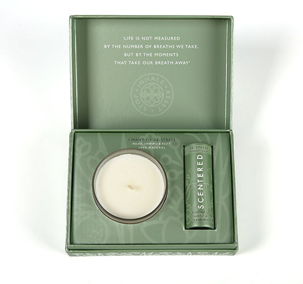 Scentered Aromatherapy Balm & Candle I Want to De Stress Gift Set - Chamomile Mandarin