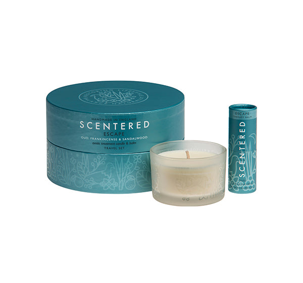 Scentered Aromatherapy Escape Balm Candle - Frankincense Sandalwood Essential Oil Travel Gift Set