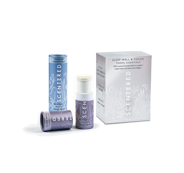 Scentered Aromatherapy Sleep Well Focus Balm Stick Set - Travel Essentials Therapy Balm Duo