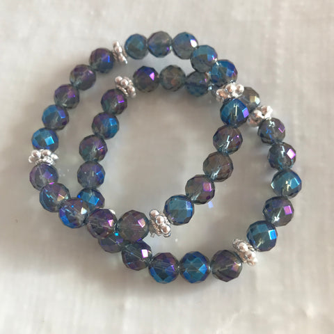 Blue rainbow coated quartz bracelets