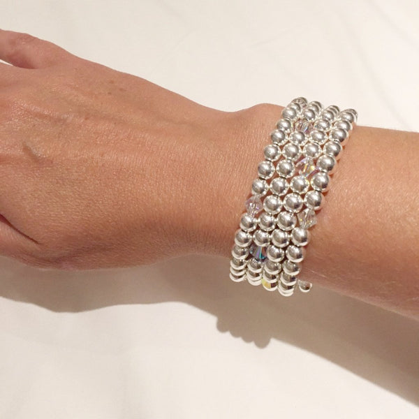 Wrap cuff with sterling silver and Swarovski crystal elements