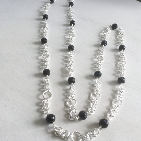 Long gemstone necklaces with handmade chain -click to view