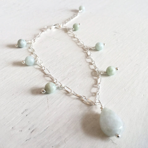 Jadeite and sterling silver bracelet