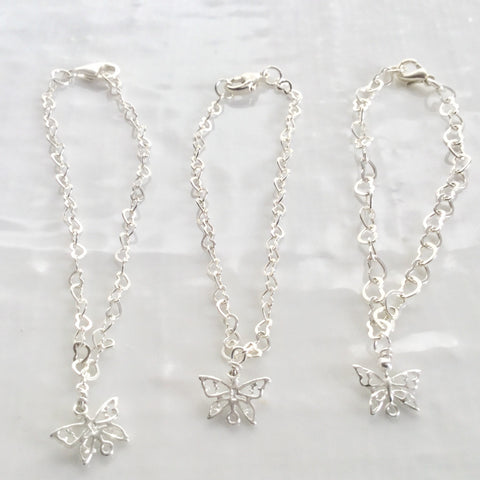 Bridesmaids sterling silver chain charm bracelets