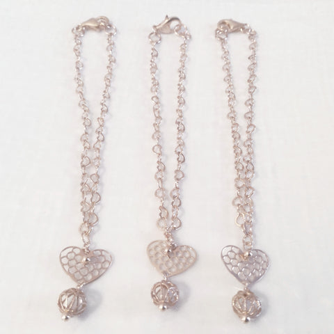 Sterling silver rose gold plated heart charm bracelets