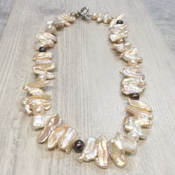 Champagne freshwater cultured Biwa and baroque pearl necklace