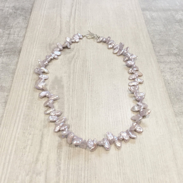 Lilac freshwater cultured Keshi pearl necklace