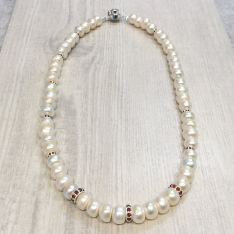 Ivory button pearl necklace with garnet