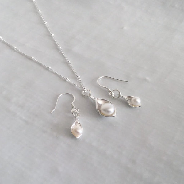 Calla lily earrings with freshwater cultured pearls