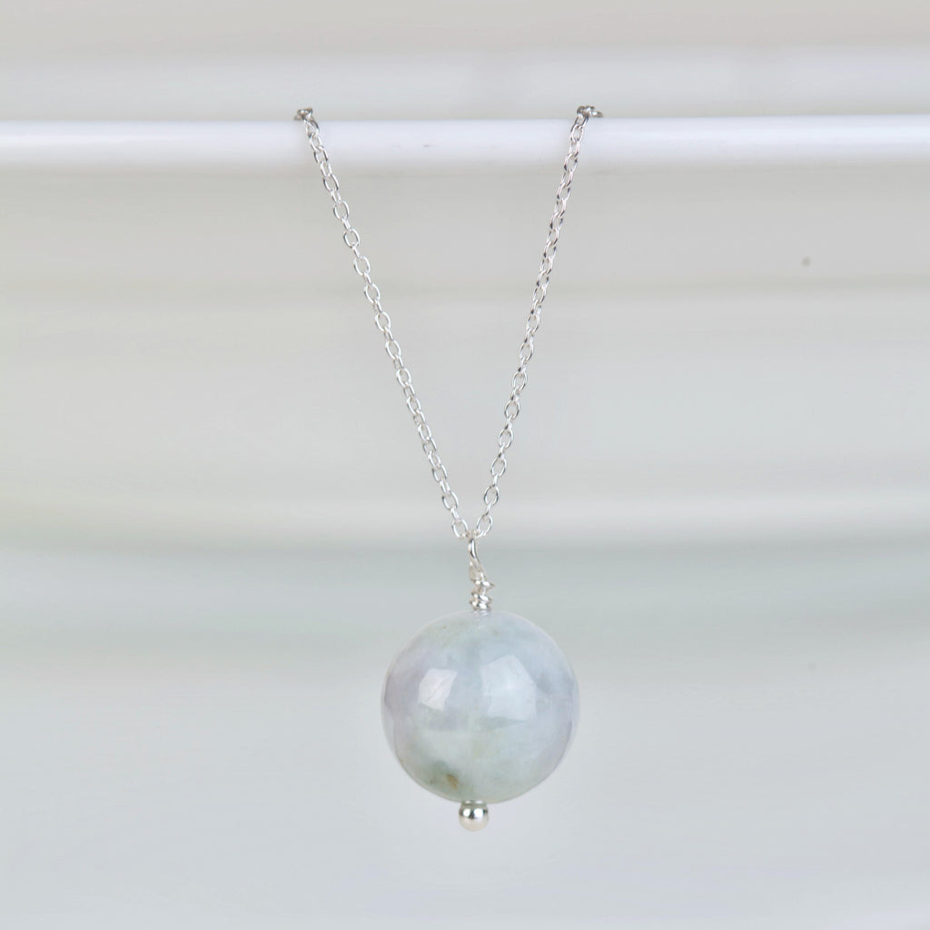 Jadeite single drop pendant necklace