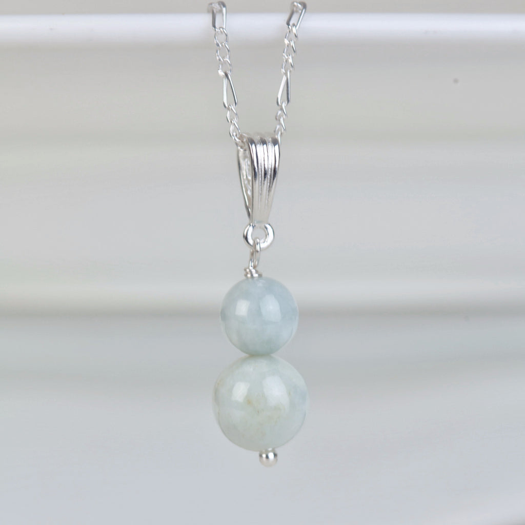 Jadeite double drop sterling silver necklace