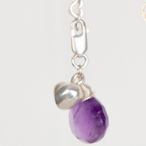 Sterling silver heart links bracelet with amethyst drop and solid heart charm