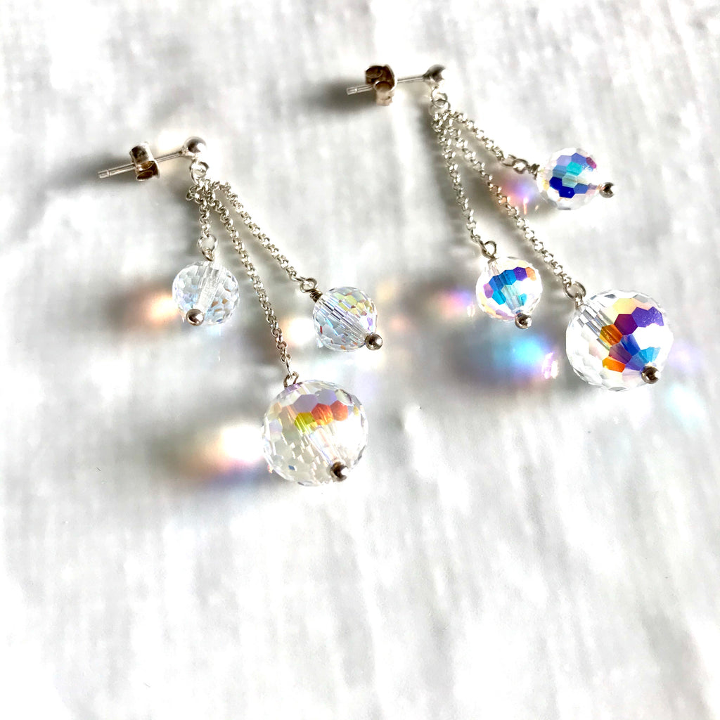 Swarovski crystal three sphere statement drop earrings