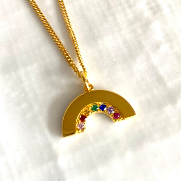 Sterling silver cubic zirconia large rainbow pendant necklace-SUPPORTING THE NHS