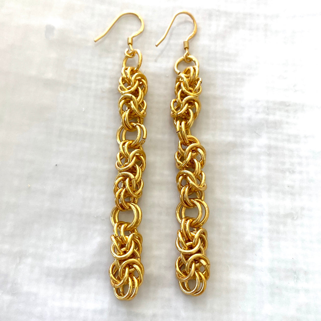 Gold plated chainmaille statement earrings