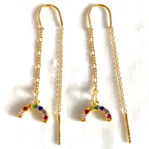 Sterling silver cubic zirconia mini rainbow threader earrings - SUPPORTING THE NHS
