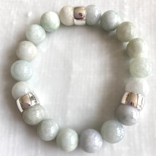 Jadeite bracelets with sterling silver beads