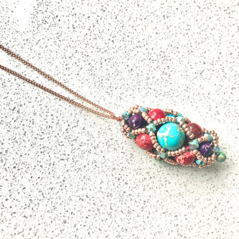 Hand beaded Medici style pendants