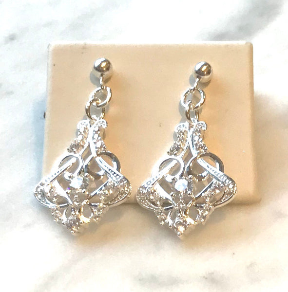 Art Nouveau cubic zirconia statesment earrings