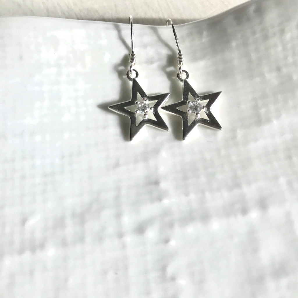 Sterling silver single star cubic zirconia earrings