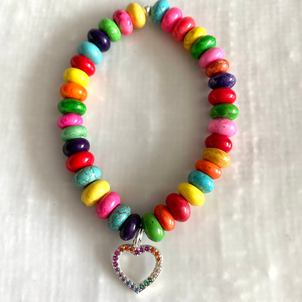 Rainbow of hope gemstone bracelet with silver plated cubic zirconia charm-SUPPORTING THE NHS