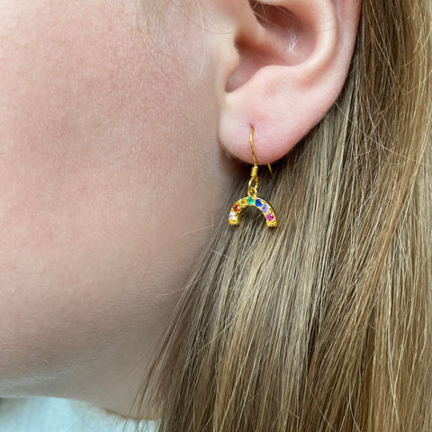 Sterling silver cubic zirconia mini rainbow earrings - SUPPORTING THE NHS
