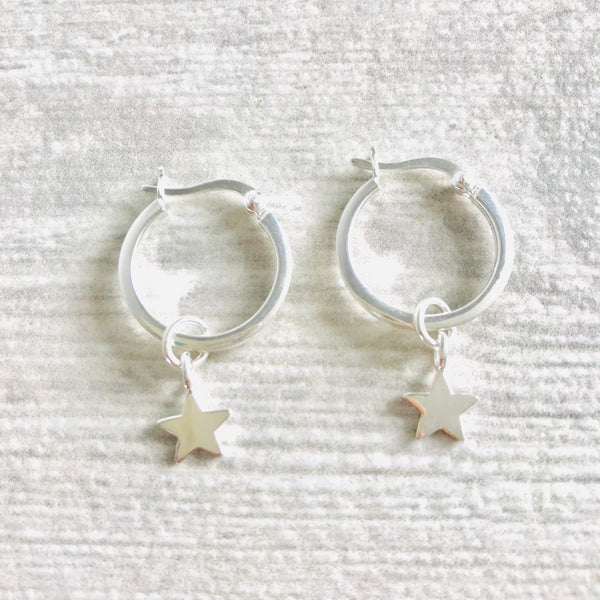 Mini hoop charm earrings