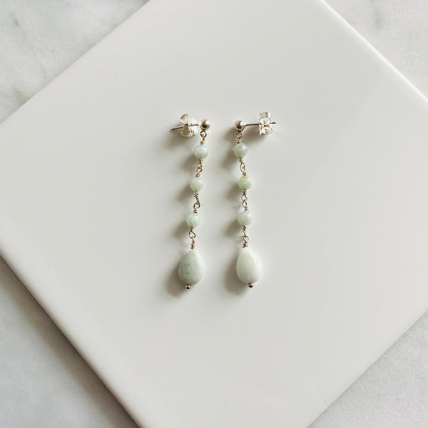 Jadeite and sterling silver long earrings