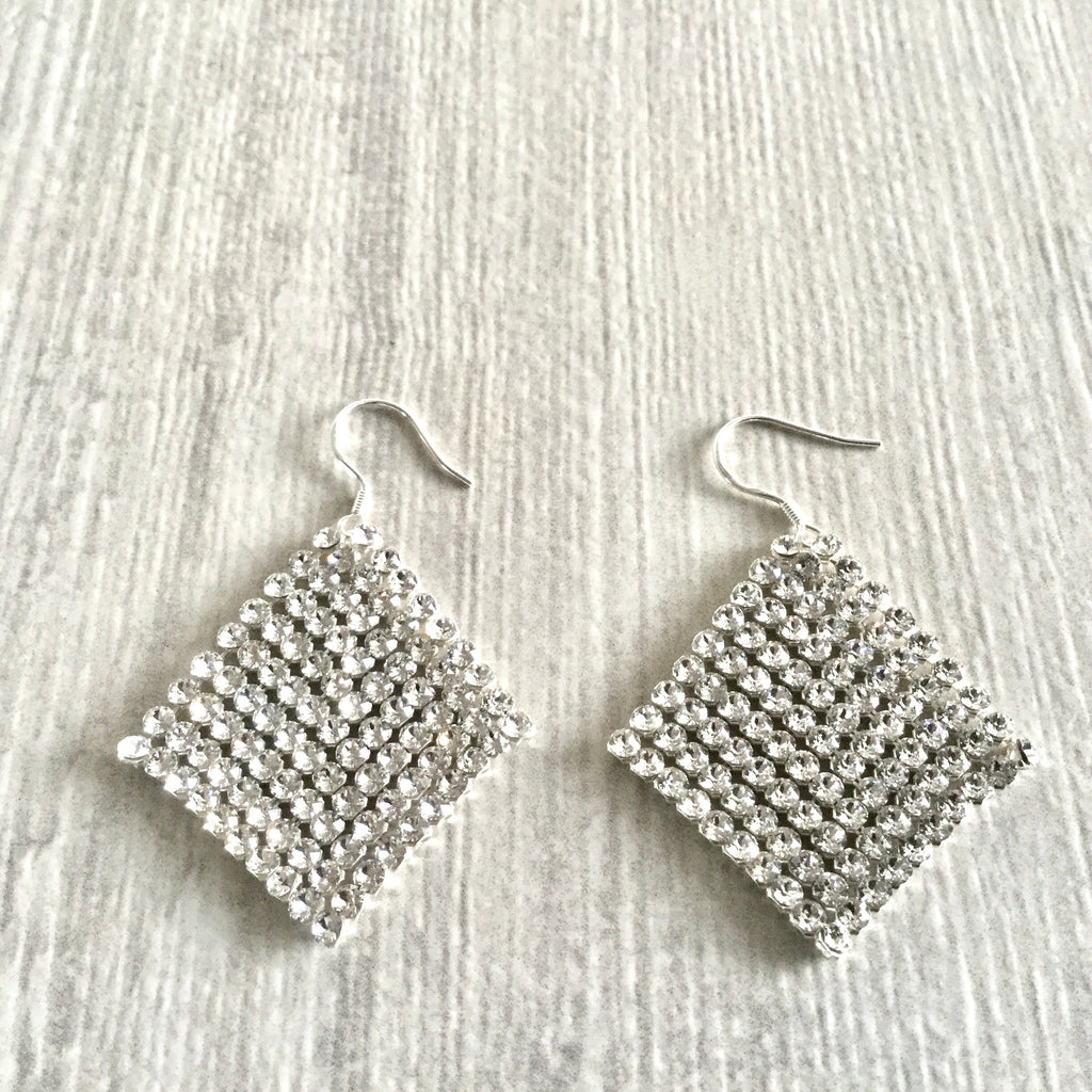 Swarovski crystal elements mesh earrings