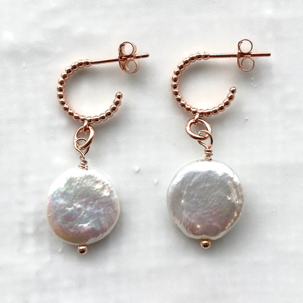 Coin pearl baroque hoop earrings