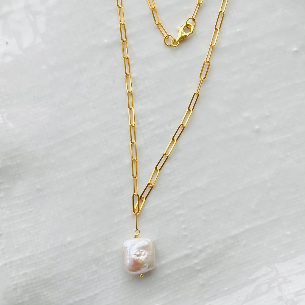 Flat link baroque pearl chain necklace