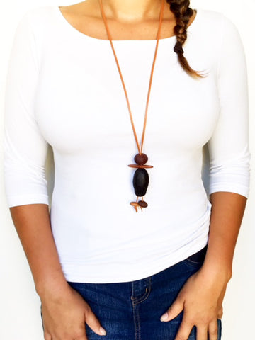 Natural Australian Made Gum Nut Necklace, created from 100% Australian made materials.