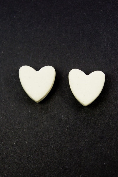 white ceramic clay heart shaped earrings Australian made
