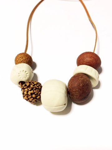 Australian Ceramic and Natural Wood Necklace