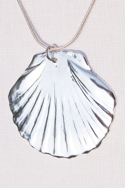 Large Silver Scallop Shell