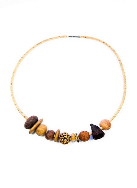 Organic necklace handcrafted with Australian natural timber beads, gumuts, quandong beads on cork cord