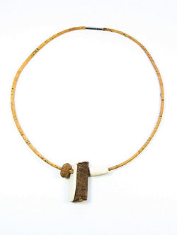 Australian handcrafted necklace crafted with cork cord, hand-carved timber timber and hand-rolled ceramic clay beads.