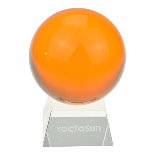 Yocotsun Crystal Amber Crystal Ball 3.15 inch (80mm) Crystal Sphere Ball with Free Crystal Stand