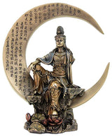 "Top Collection Small 8.5"" H 7"" W Guan Yin in Royal Ease Pose on Crescent Moon with Heart Sutra Statue. Cold Cast Bronze Resin. East Asian Buddhist Deity Goddess of Compassion and Mercy."